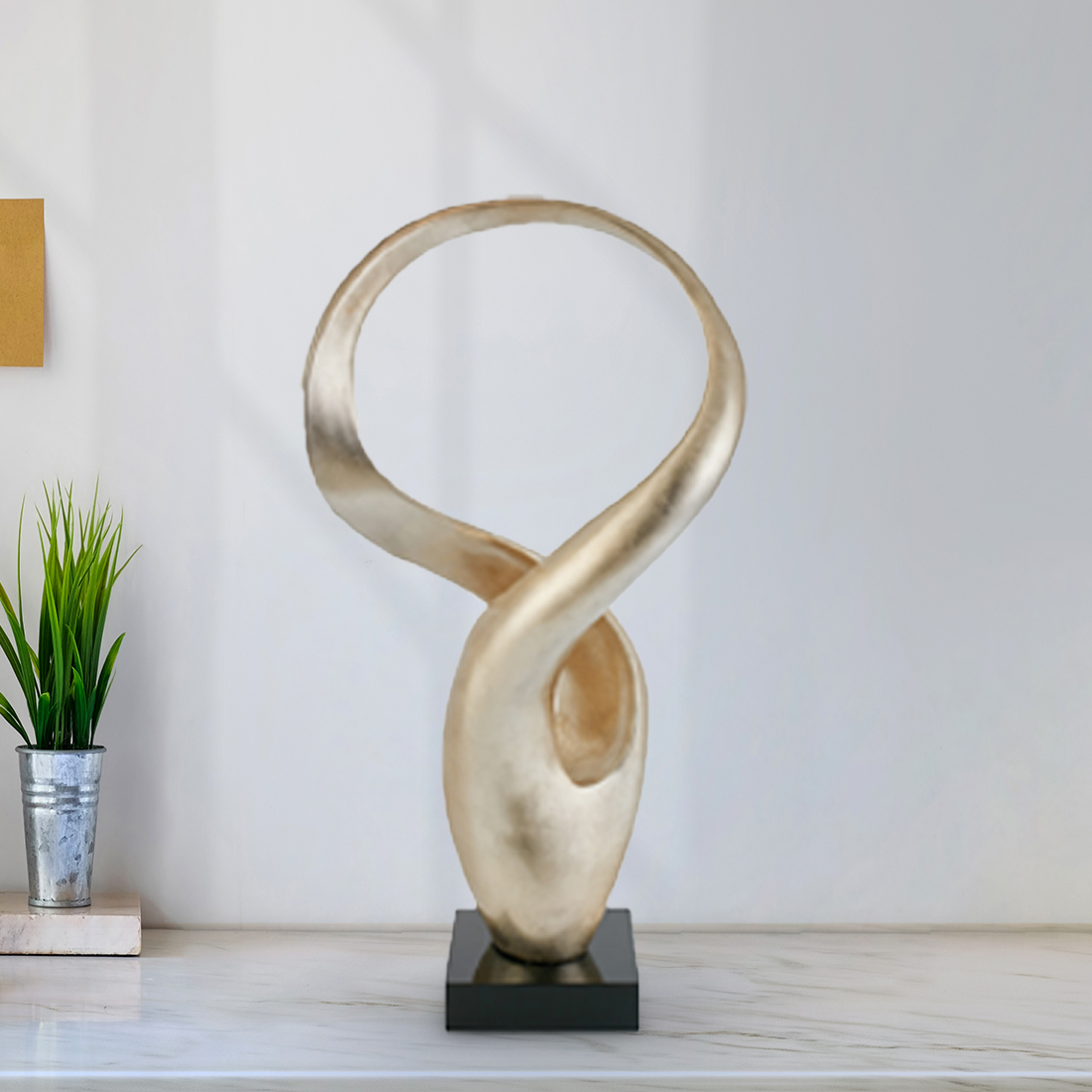 Novel Entangled Ring Acc 74 Cm Gold Bamboo Table D in Gold Colour by Living Essence