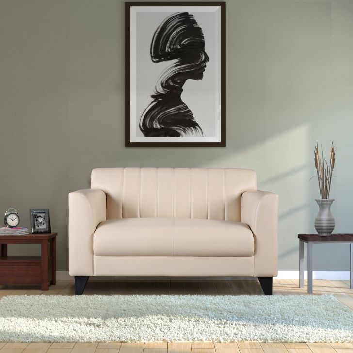 Delight Leatherette Two Seater Sofa in Ivory Colour