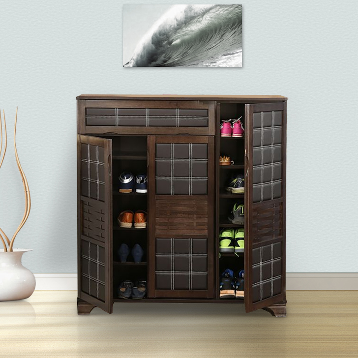 Clayton Engineered Wood Shoe Rack in Wenge Colour by HomeTown