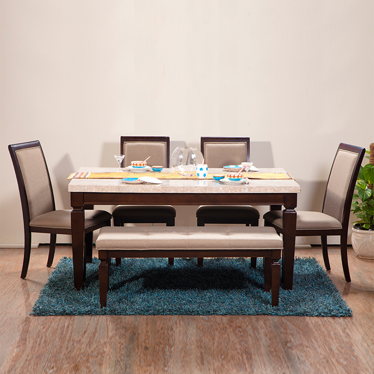 Bliss Solid Wood Marble Top Six Seater Dining Set in Beige & Brown Colour by HomeTown