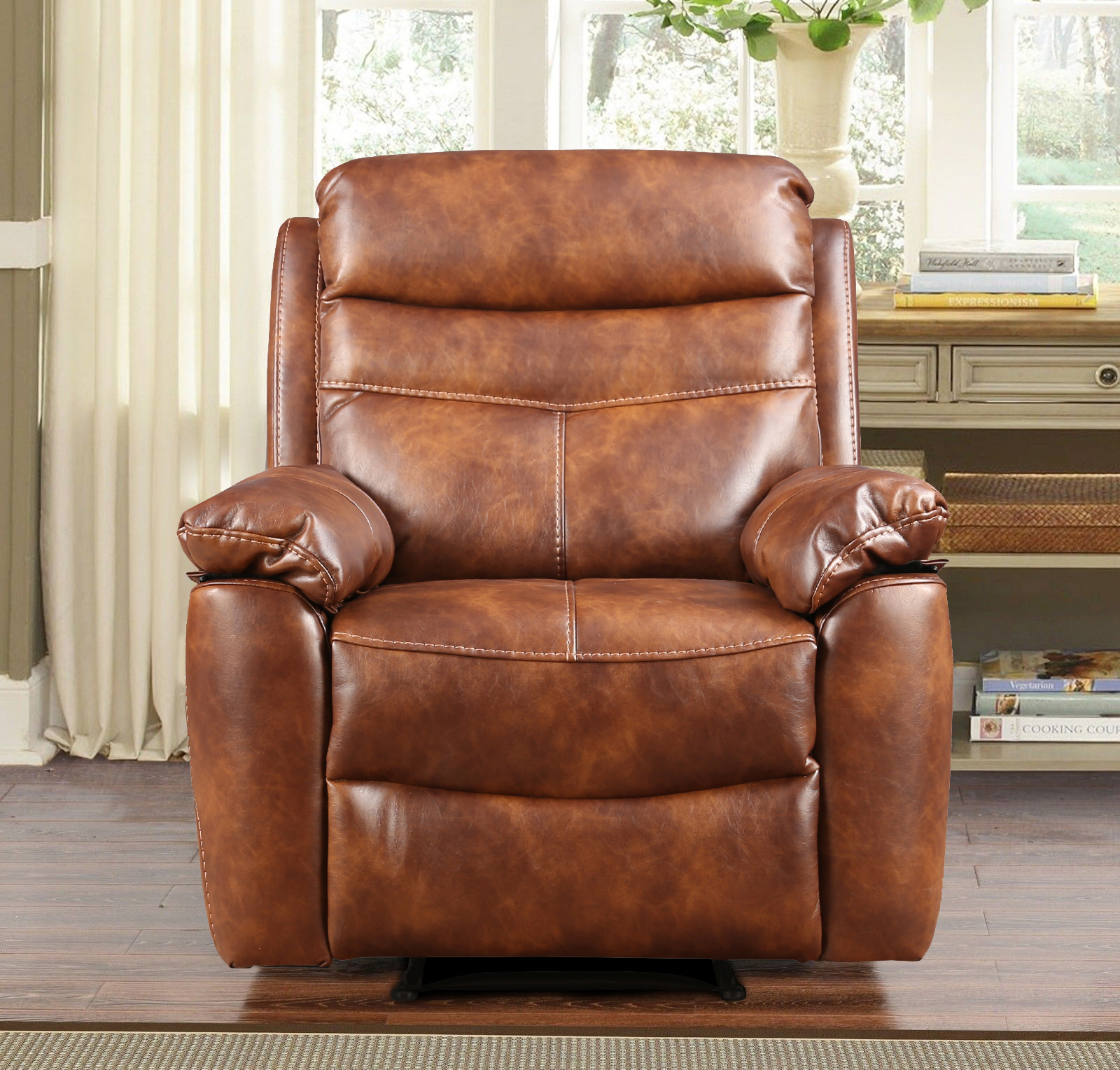 Logan Fabric Single Seater Recliner in Brown Colour by HomeTown