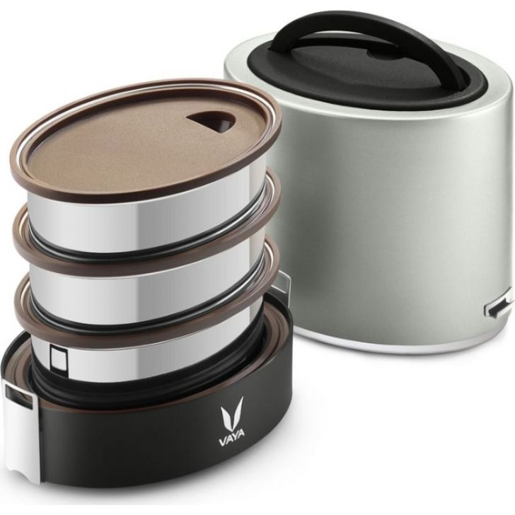 Vaya Tyffyn 1000 Ml - 3 Stainless Steel Containers, Silver