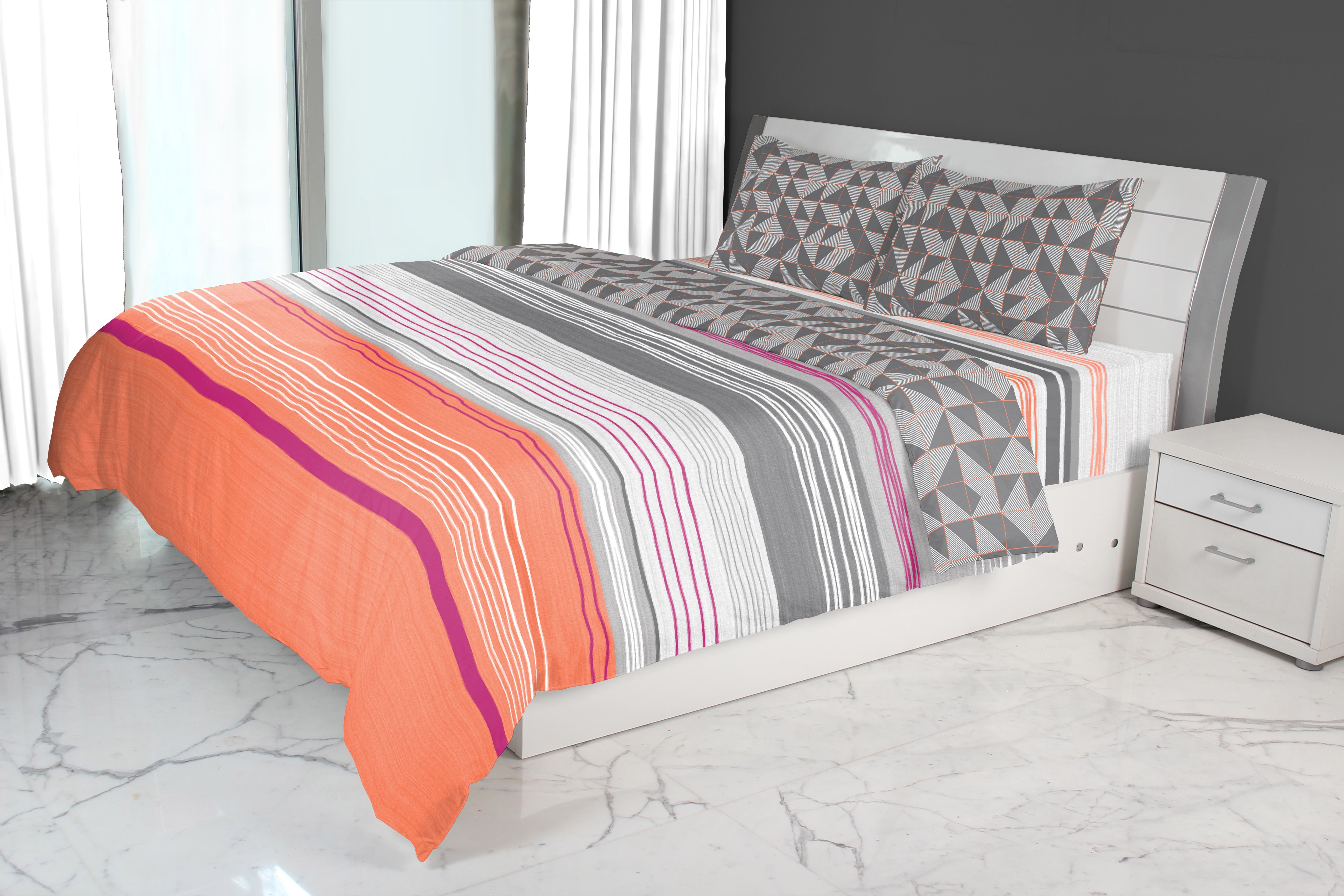 Emilia Double Comforter Charcoal Coral Cotton Comforters in Charcoal Coral Colour by Living Essence