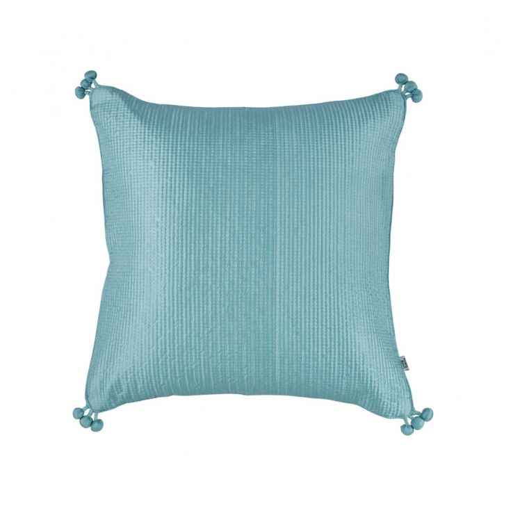 Pompom Cushion Cover 40X40 Cm Dusty Blue Silver Polyester Cushion Covers in Dusty Blue Silver Colour by Living Essence