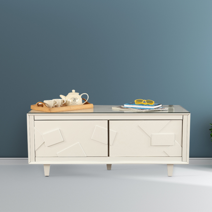 Norah Engineered Wood Center Table in White Colour by HomeTown