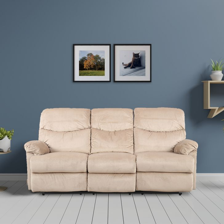 Daniel Fabric Three Seater Recliner in Beige Colour by HomeTown