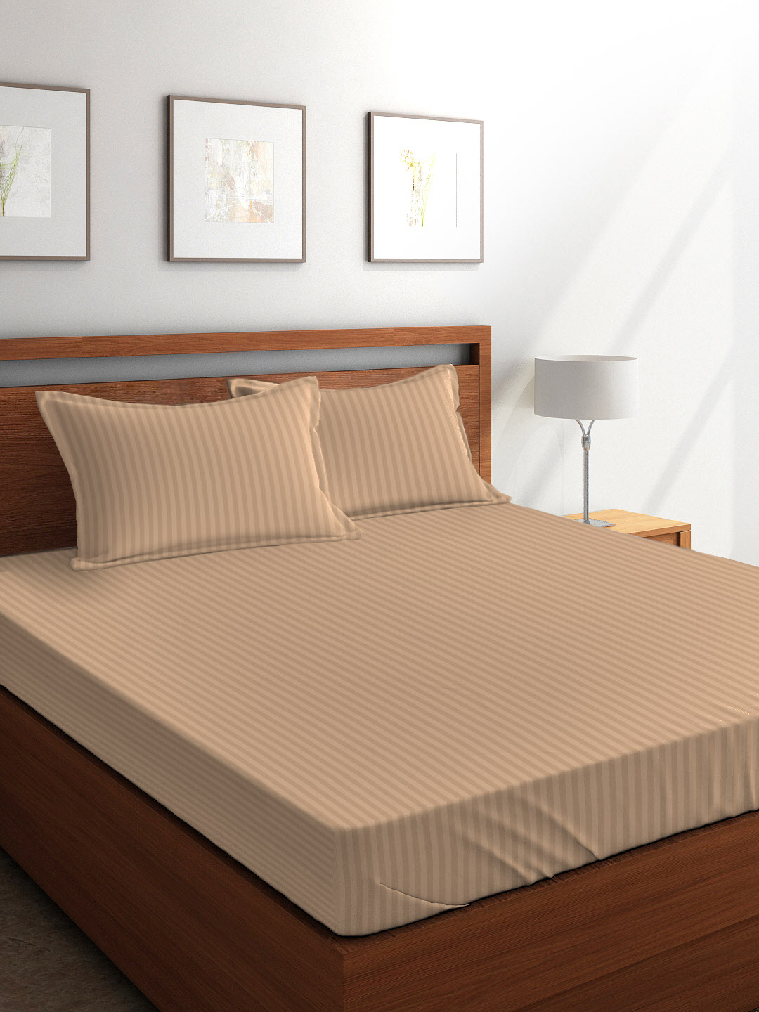 Tangerine Weaved Cotton Double Bed Sheets in Beige Colour by Tangerine