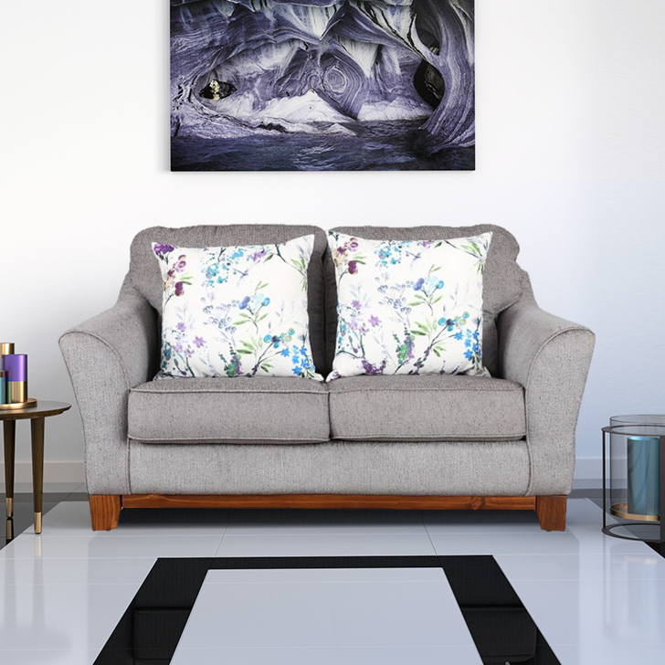 Rotterdam Fabric Two Seater sofa in Grey Colour by HomeTown