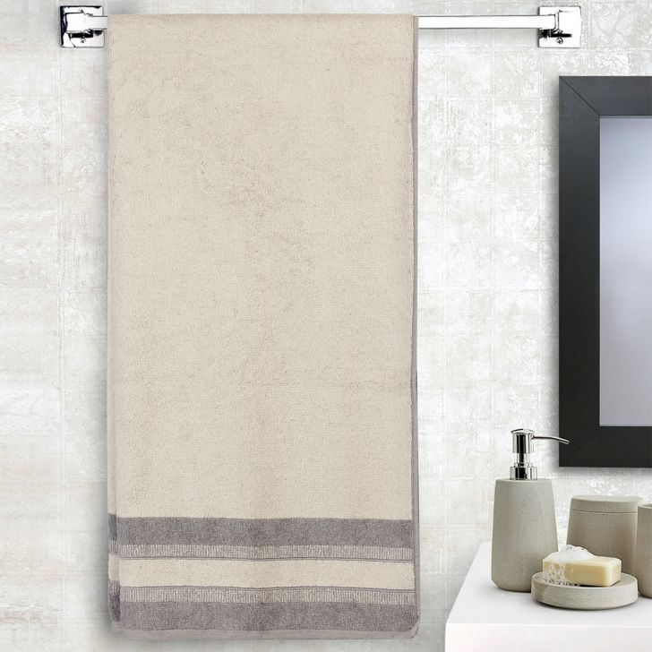 Spaces Cotton Bath Towel in Taupe Colour by HomeTown