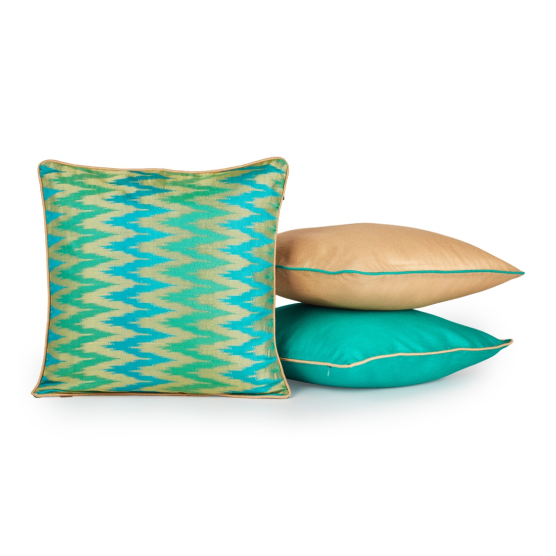 Chevron Set Of 3 Cushion Covers Teal Polyester Cushion Cover Sets in Teal Colour by Living Essence