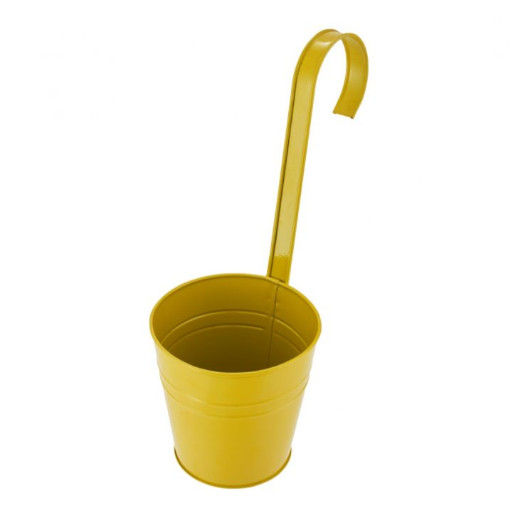 Aria Round Planter With Long Handle Yellow Metal Pots & Planters in Yellow Colour by Living Essence
