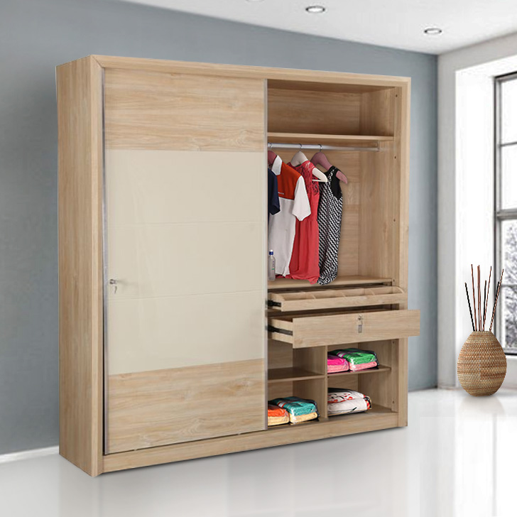 Galileo Engineered Wood Sliding Wardrobe in Beige Colour by HomeTown