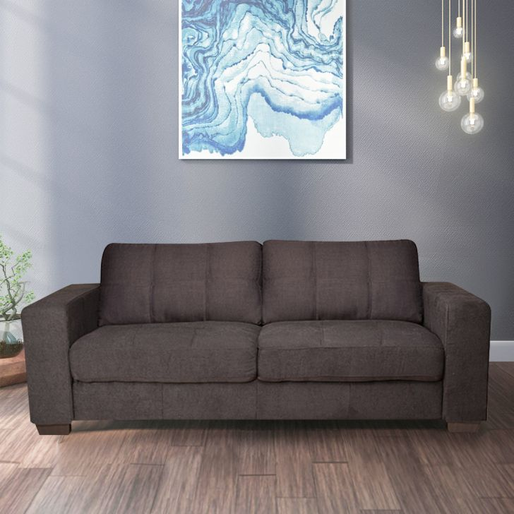 Elly Fabric Three Seater sofa in Brown Colour by HomeTown