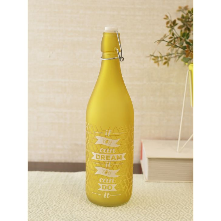 Frosted Modern Quote Glass Bottle in Yellow Colour by Living Essence