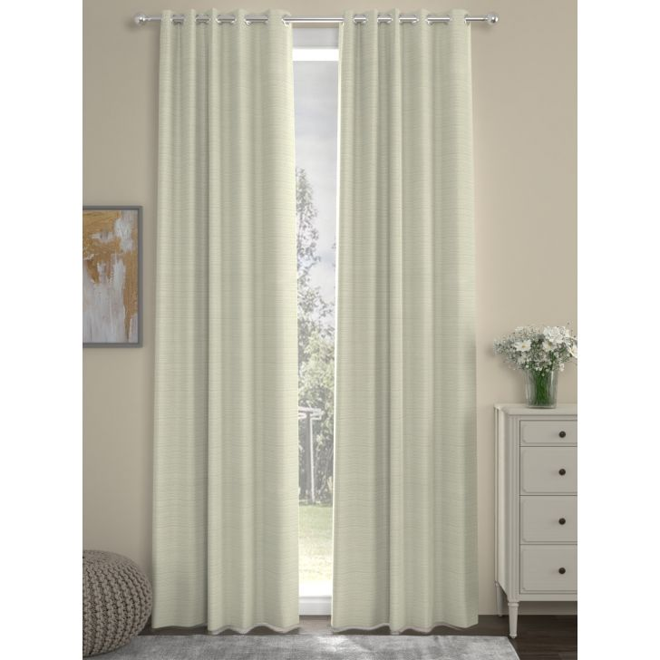 Solid Long Door Curtain In Cream Color By Rosara Home