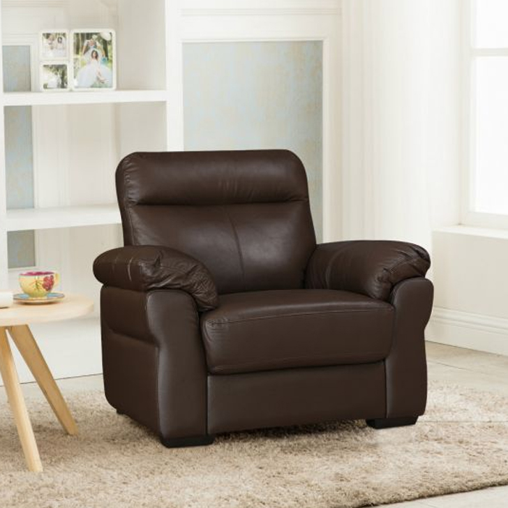 Radbourne Half Leather Single Seater sofa in Brown Colour by HomeTown