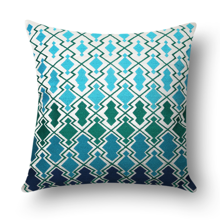 Morocco Embellished Polyester Cushion Cover Blue And White Polyester Cushion Covers in Blue And White Colour by Living Essence