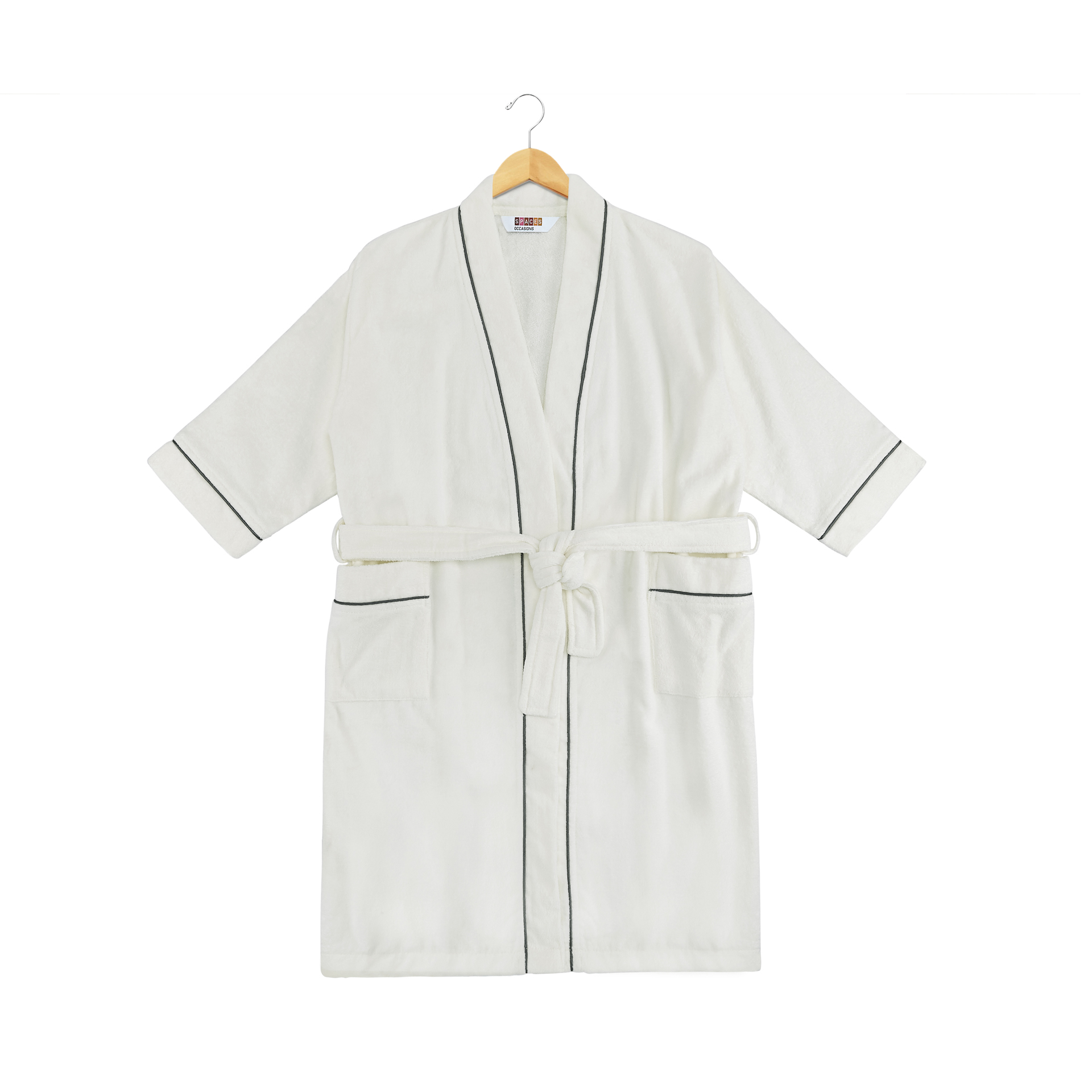 Spaces Allure Cotton Bath Robes in White-Ash Colour by Spaces