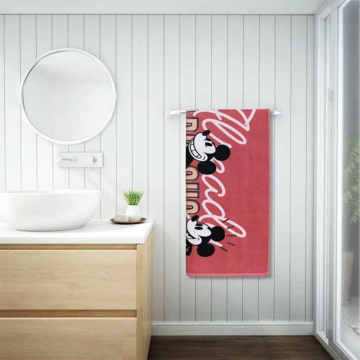 Mickey Mouse Cotton Bath Towel 67X130 Cm 380 Gsm in Red Colour