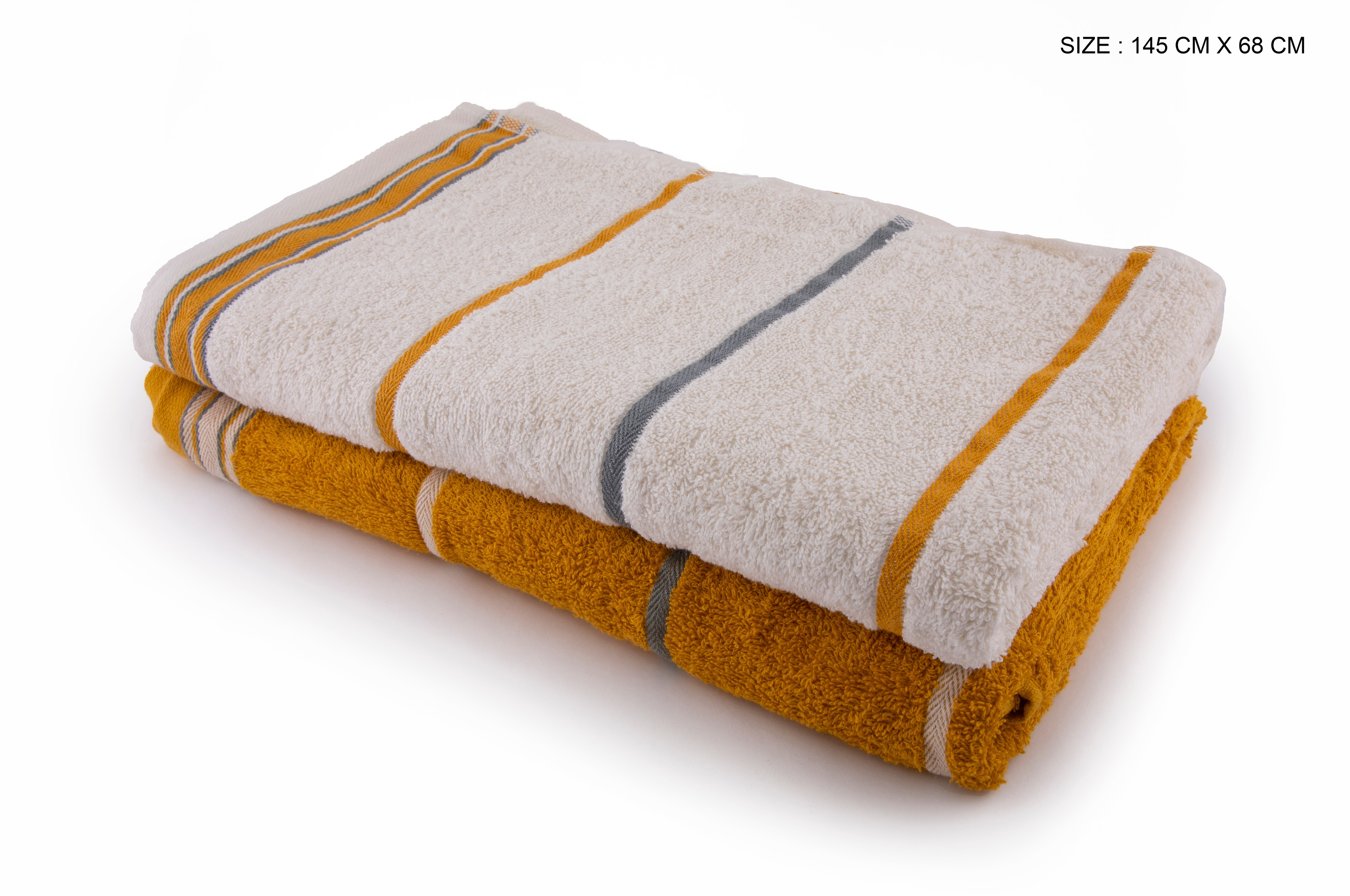 Living Essence Emilia Off White Gold Set Of 2 Terry Towels Cotton Towel Sets in Off White Gold Colour by HomeTown