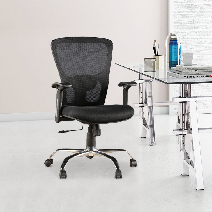 Olivia Engineered Wood Office Chair in Black Colour by HomeTown