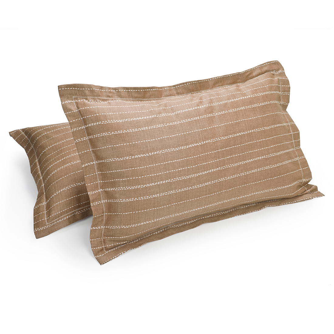Set of 2 Pillow Cover Amour Texture Dark Beige Cotton Pillow Covers in Cotton Colour by Living Essence