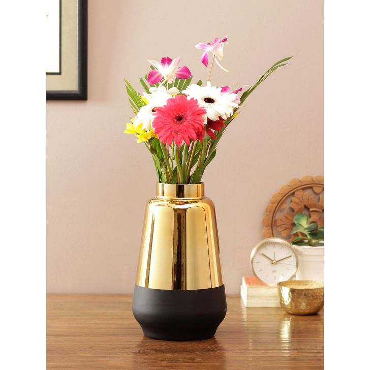 Eva Modern Round Ceramic Vase Black Gold Ceramic Vases in Black Gold Colour by Living Essence