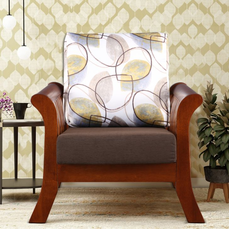 Aubrey Solid Wood Single Seater Sofa in Printed Brown Colour by HomeTown
