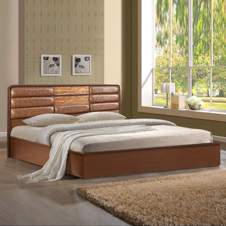 Venessa Engineered Wood Hydraulic Storage Queen Size Bed in Dark Oak Colour by HomeTown