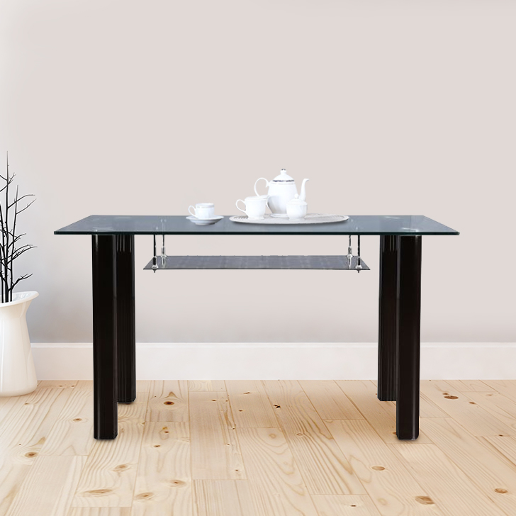 Fiesta Stainless steel Six Seater Dining Table in Brown Colour by HomeTown