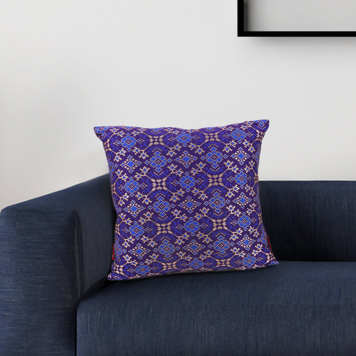 Patola Purple Polyester Cushion Covers in Purple Colour by Living Essence