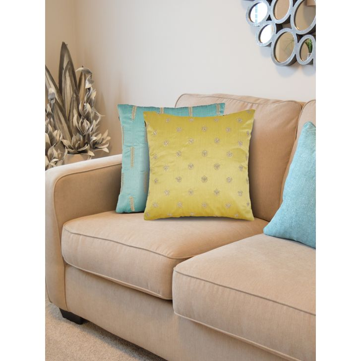 Set of 2 Polyester Cushion Covers in Turq Citron Colour by Living Essence