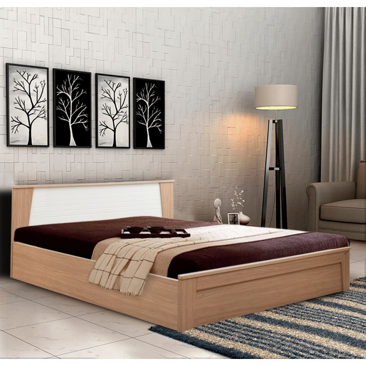 Ambra Engineered Wood Hydraulic Storage King Size Bed in Multi Color Color by HomeTown