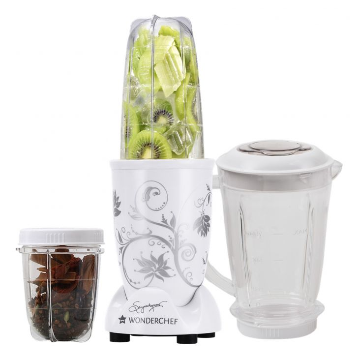 Blender & Grinder With Big Mixing Jar Plastic Blenders & Grinders in White Colour by Wonderchef