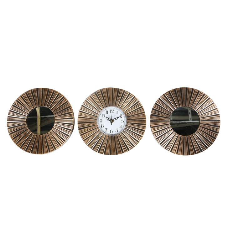 HomeTown Reflection Elevations Mirror With Clock 3 Pcs