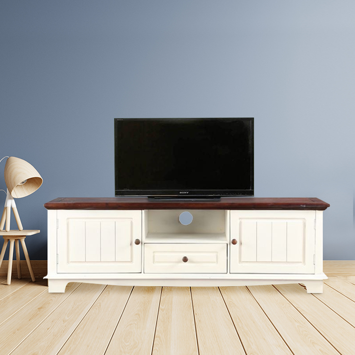Richmond Solid Wood TV Unit in Brown & White Colour by HomeTown