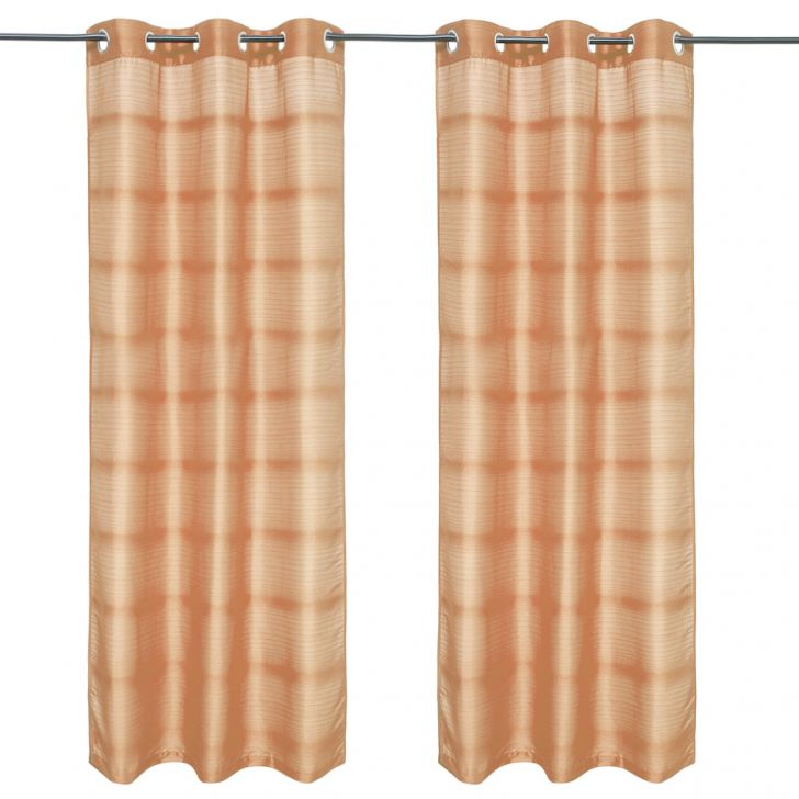 Fiesta Solid set of 2 Polyester Door Curtains in Beige Colour by Living Essence