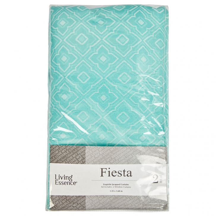 Fiesta Jacquard Polyester Window Curtains in Turquoise Colour by Living Essence