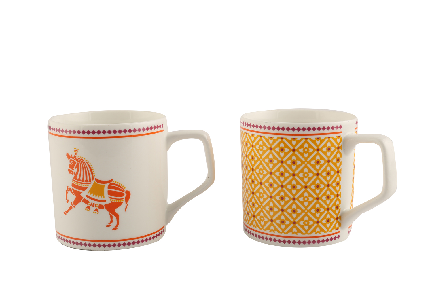 Horse Lattice Set Of 6 Tea Mugs Ceramic Tea Mugs in Yellow And Pink Colour by Living Essence