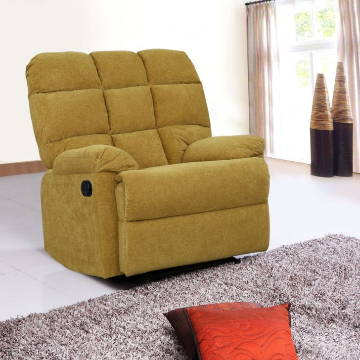 Graham Fabric Single Seater Recliner in Yellow Colour by HomeTown