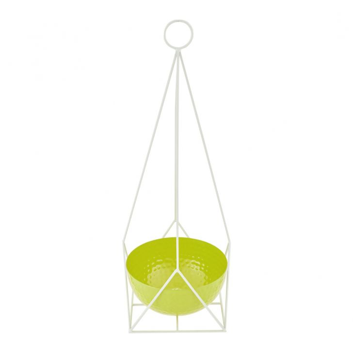Aria Angular Hanging Planter Metal Pots & Planters in Green Colour by Living Essence