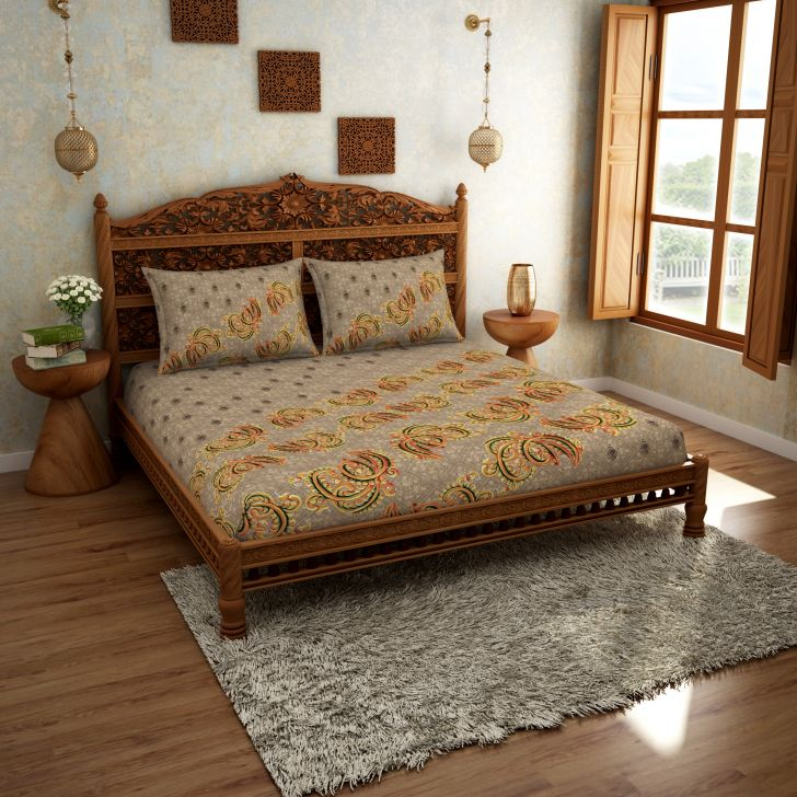 Spaces Rangana Bronze 210 Tc Cotton Printed Large Bed Sheet With 2 Pillow Covers