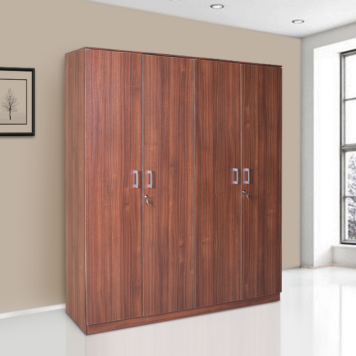 Premier Engineered Wood Four Door Wardrobe in Regato Walnut Colour by HomeTown