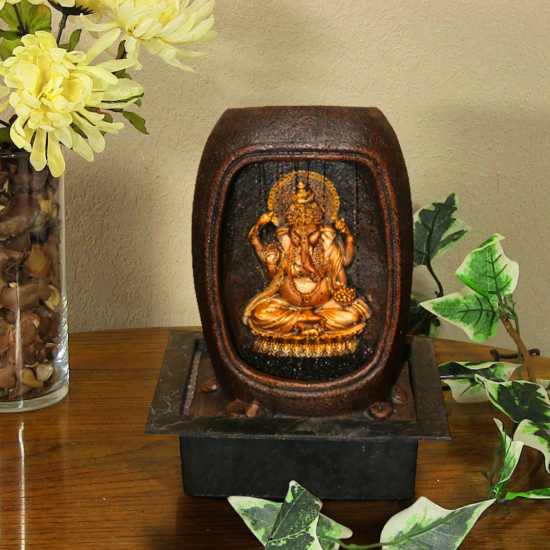 Hometown Polyresin And Plastic Sitting Ganesha Water Fountain Polyresin Small Fountains in Gold And Brown Colour by HomeTown