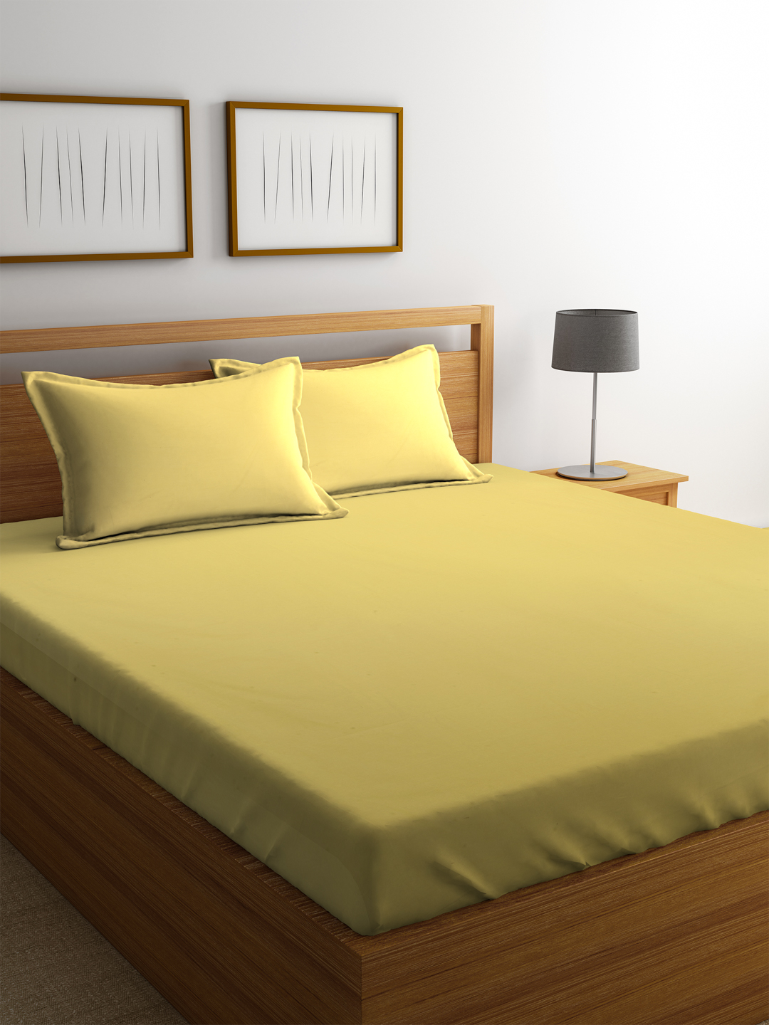 Portico Supercale Cotton Double Bed Sheets in Golden Colour by Portico