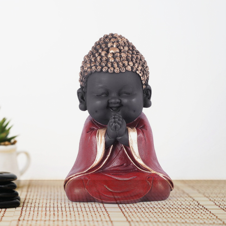 Naqsh Praying Monk Red-Gold Polyresin Figurines in Red-Gold Colour by Living Essence