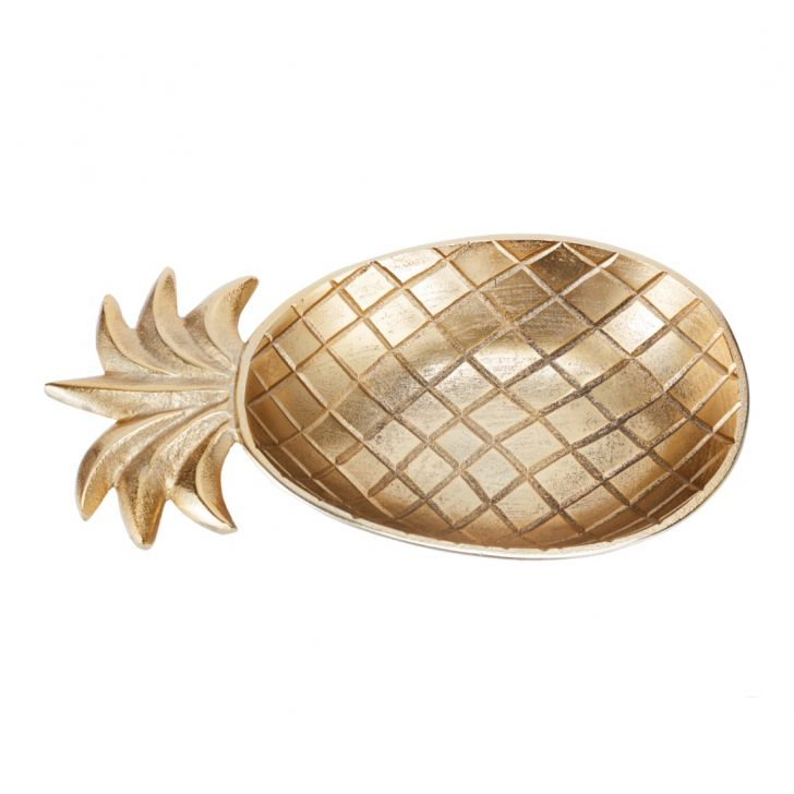 Aspen Pineapple Plater Large Gold Glass Table D in Gold Colour by Living Essence
