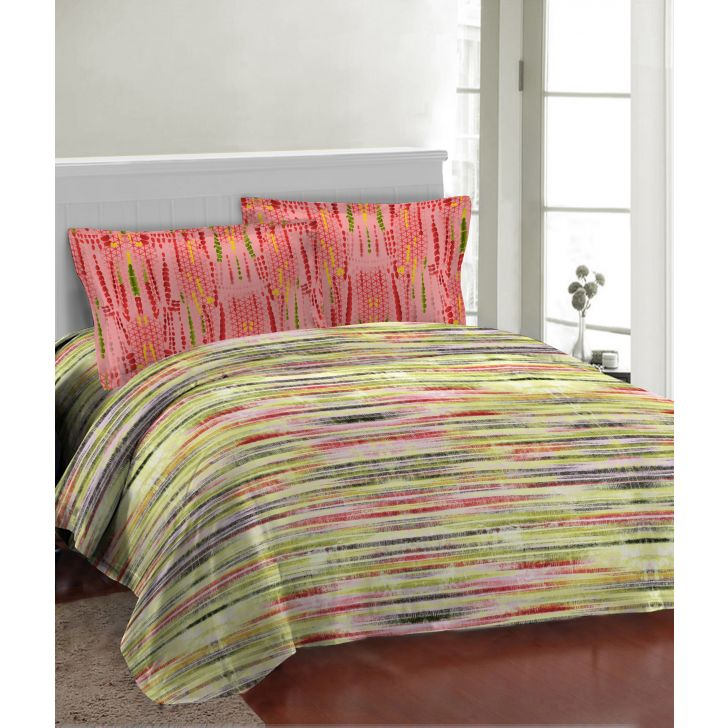Fair Mist Polycotton Double Bedsheet in Multicolour Colour by Bombay Dyeing