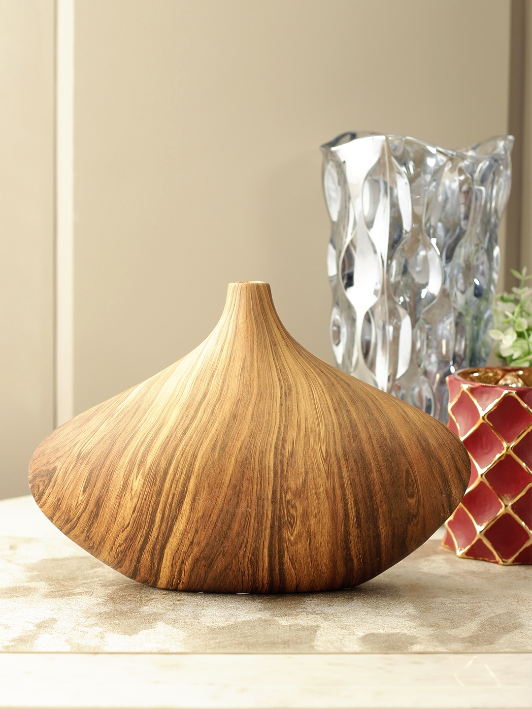 Buy Luna Ceramic Vase In Brown Colour By Living Essence Online At Best Price Hometown In