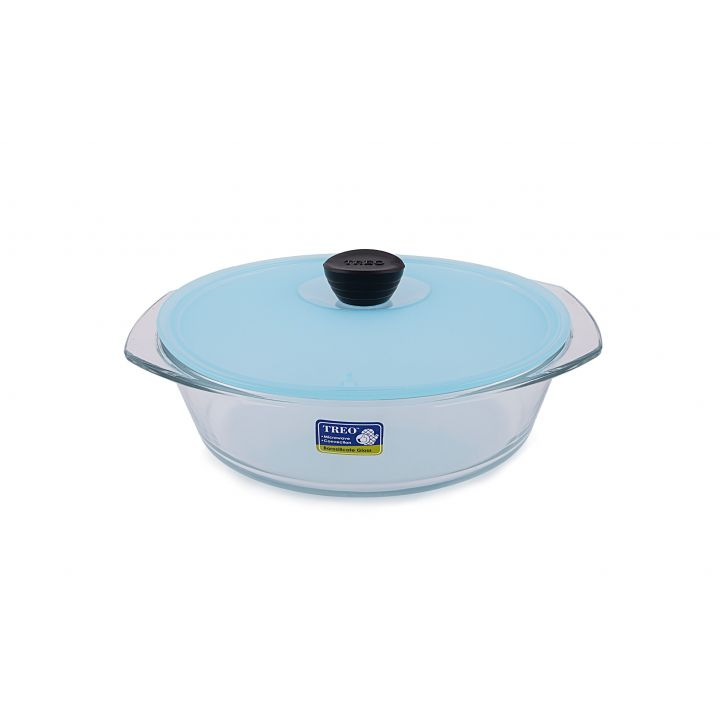 Treo Round Casserole With Microwavable Lid Glass Casseroles in Sky Blue Colour by HomeTown